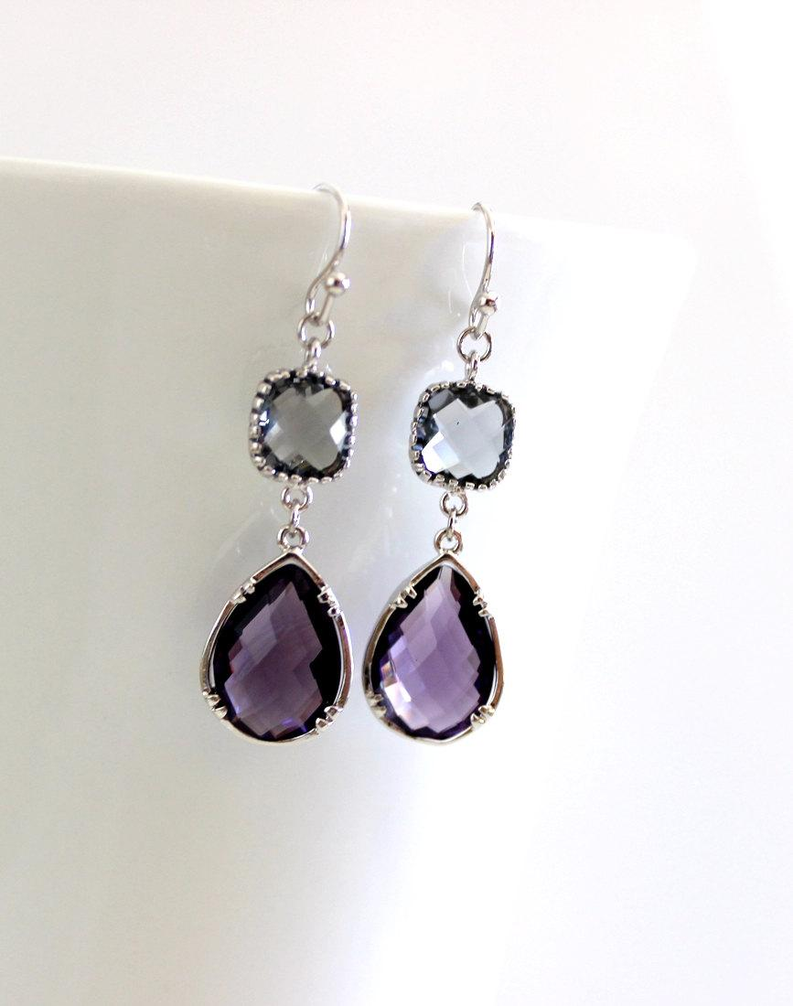 Свадьба - Amethyst Purple earrings, Gray Earrings, Bridesmaid Gift Wedding Earrings Bridal Jewelry ,Puple DanlgeEarrings, Gray Earrings, Gift