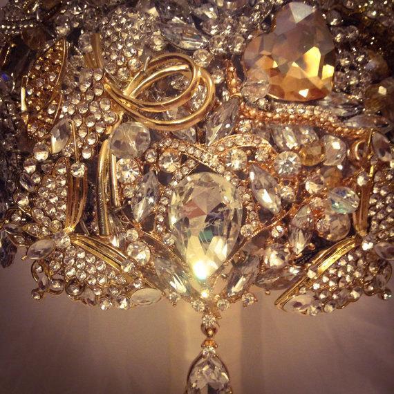 Wedding - Gatsby 1920's Flapper Girl Champagne Gold Brooch Bouquet. Deposit on Vintage Old Hollywood Glam Wedding Bride Flower Jewelry broach bouquet