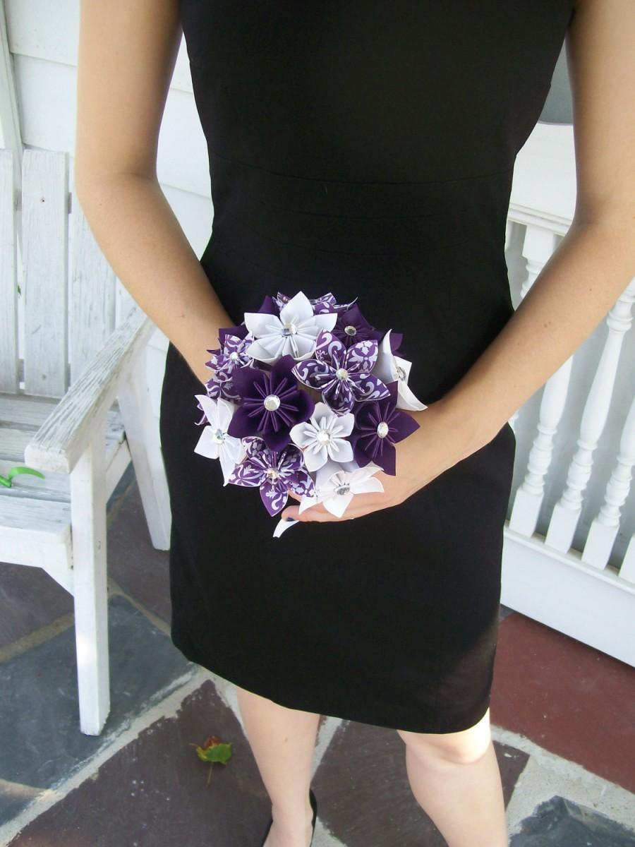 Свадьба - Paper Wedding Flowers Custom Bridesmaid Bouquet -  Kusudama - Origami - Purple - Damask
