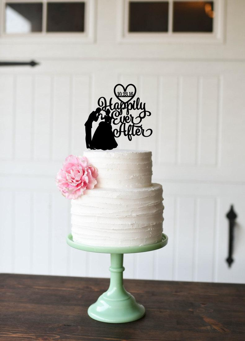 Свадьба - Cinderella Wedding Cake Topper  Happily Ever After Cake Topper Personalized Cake Topper