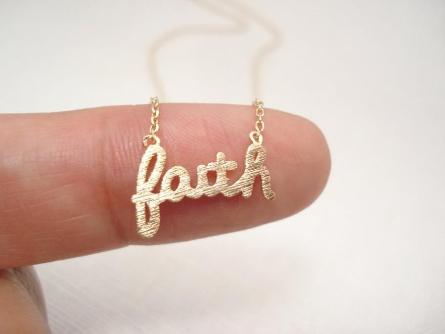 "Свадьба - Gold ""faith"" necklace..simple handmade jewelry, everyday, bridal jewelry, wedding, bridesmaid, flower girl best friend gift"