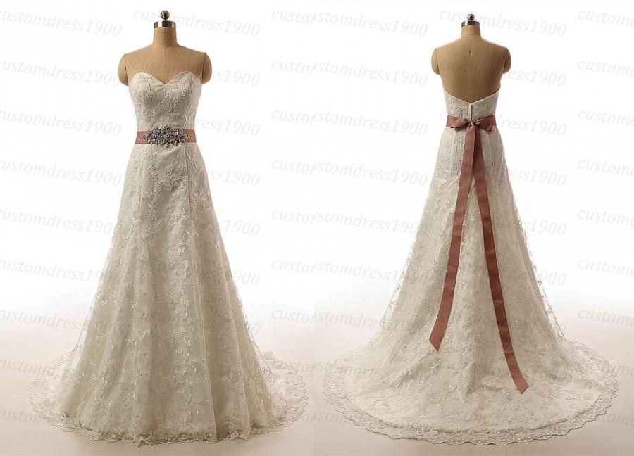 Nozze - A-Line Wedding Dress,Beach Wedding Dress,Lace Wedding Dress,Sweetheart Lace Bridal Gowns