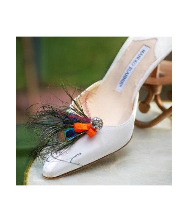 Mariage - Shoe Clips Double Peacock Feathers & Tangerine Bow. Bride Bridesmaid Maid Honor MOH, Big Day Party Gift, Statement Eggplant Purple Plum Clip