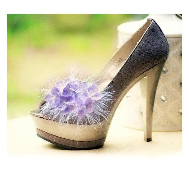 Mariage - Shoe Clips Sweet Lilac Lavender / Lime Green / Pink, White Ivory Feather, Spring French Style, Statement Bride Bridesmaid Bridal Shower Gift