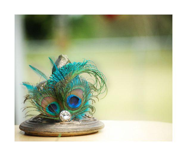 Hochzeit - Wedding Peacock Sword Teal Rooster Feathers & Rhinestone Gem. Comb / Clip / Brooch Pin for Clutch / Bag. Bride Bridal Bridesmaid Fascinator
