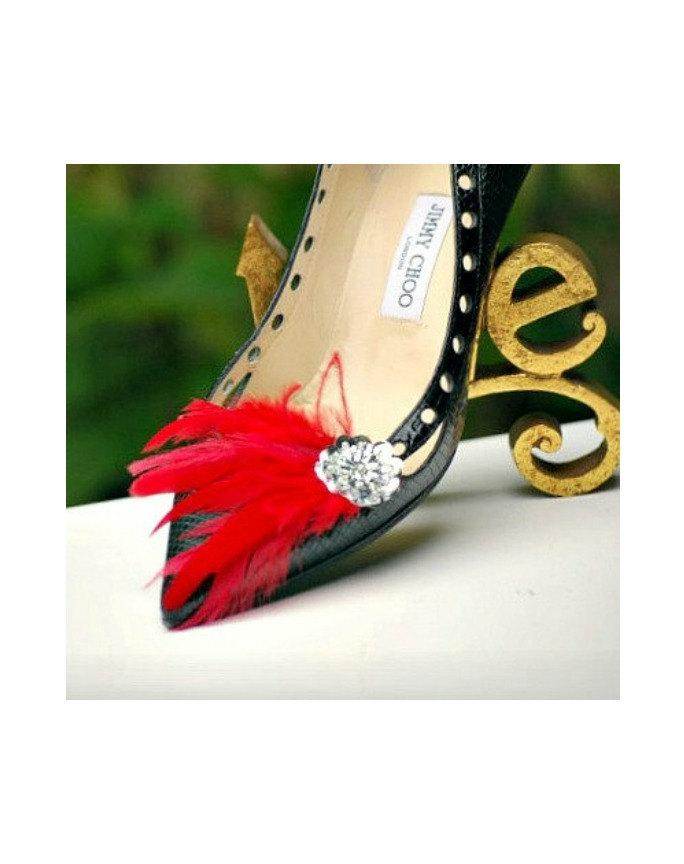 Mariage - Shoe Clips Red. Ivory White Purple Blue Purple Feathers & Metallic Silver Sequins. Bride Bridal Bridesmaid Brooches, Statement Evening Party