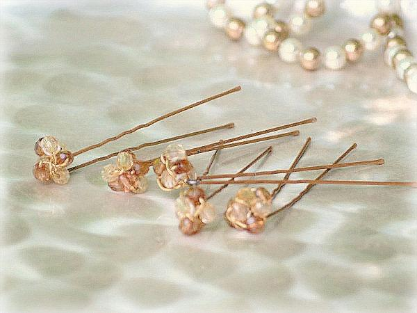 Boda - Citrine 5 Pins Set. Spring Couture Gift. Rust Beaded Wire Wrap. Sophisticated Modern Holidays. Bride Bridal Bridesmaid, Gold Golden Tan Bead
