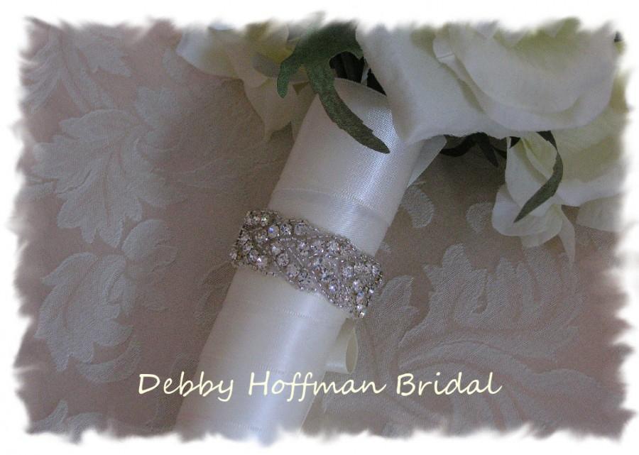 Свадьба - Wedding Bouquet Wrap, Rhinestone Crystal Bridal Bouquet Wrap, Jeweled Wedding Bouquet Wrap, Silver Beaded Bridal Bouquet Cuff, No. 3010BW