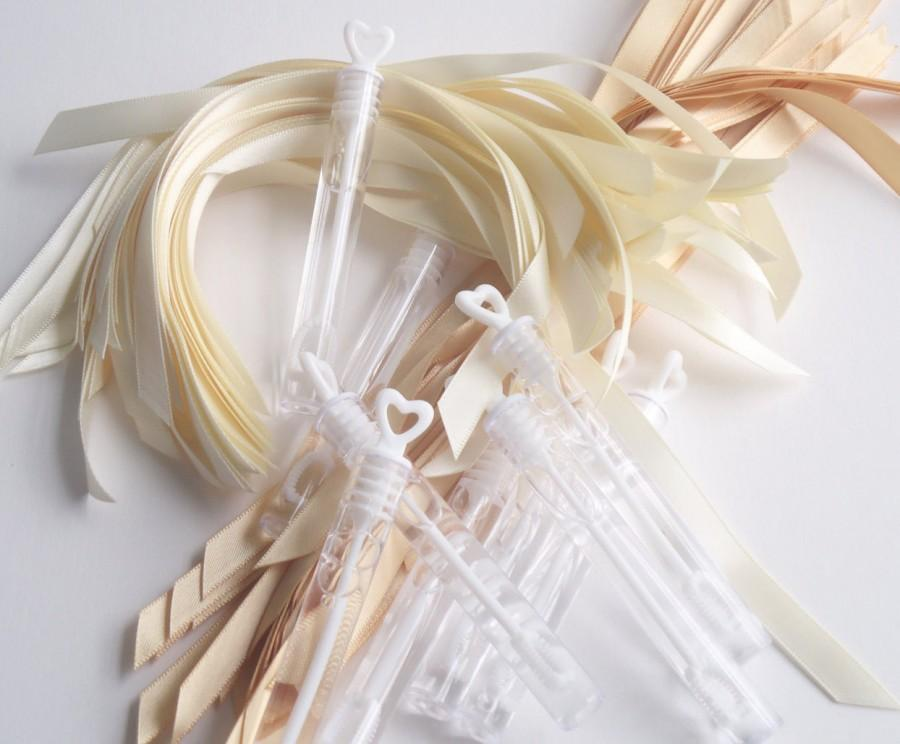 Mariage - DIY wedding bubbles send off bubble wands your choice of ribbon color *New Colors*