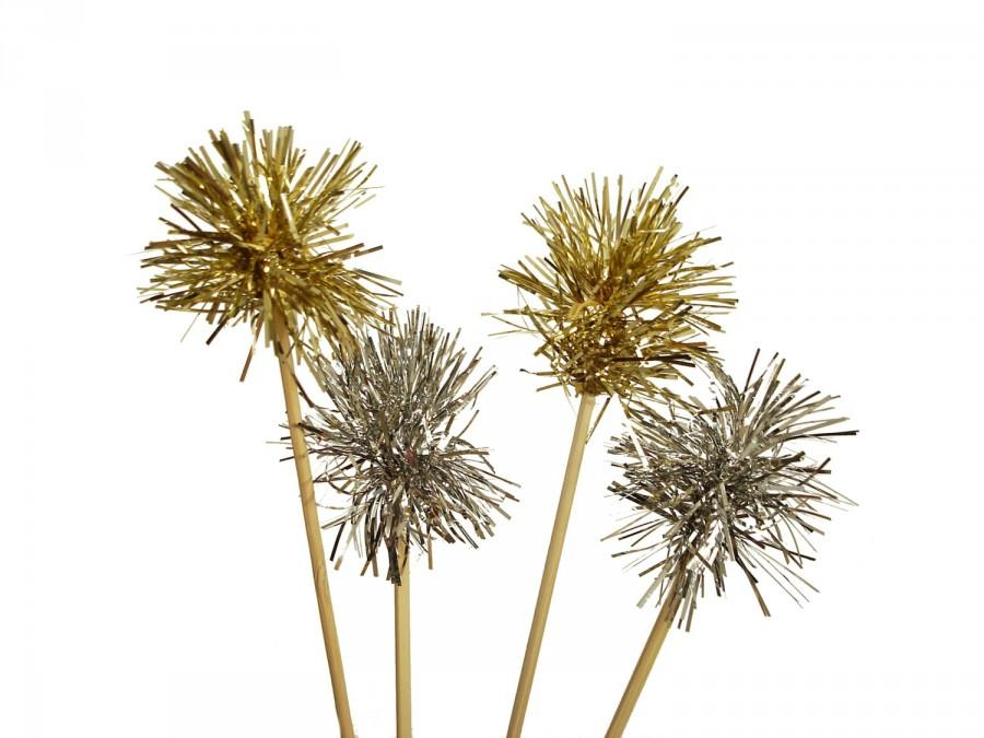 Свадьба - 12 Sparkle Gold or Silver Tinsel Drink Stirrers, Tinsel Cupcake Toppers, Cake Toppers - Valentine's Day, New Year Party Decorations