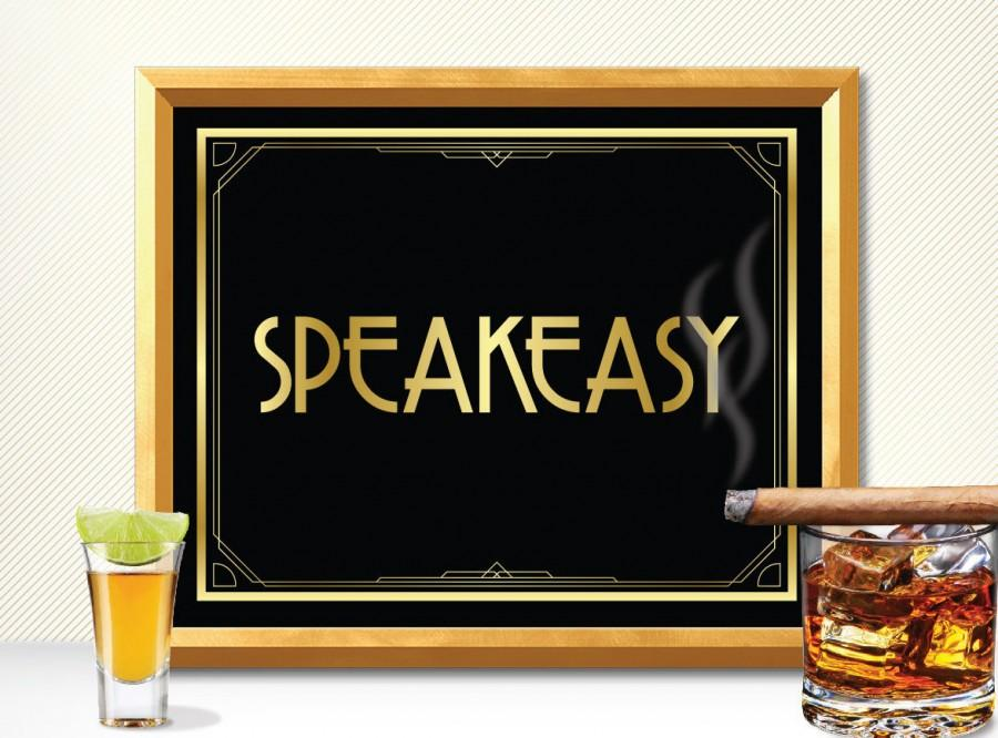 Printable speakeasy sign art deco great gatsby 1920 39 s for Art deco party decoration ideas