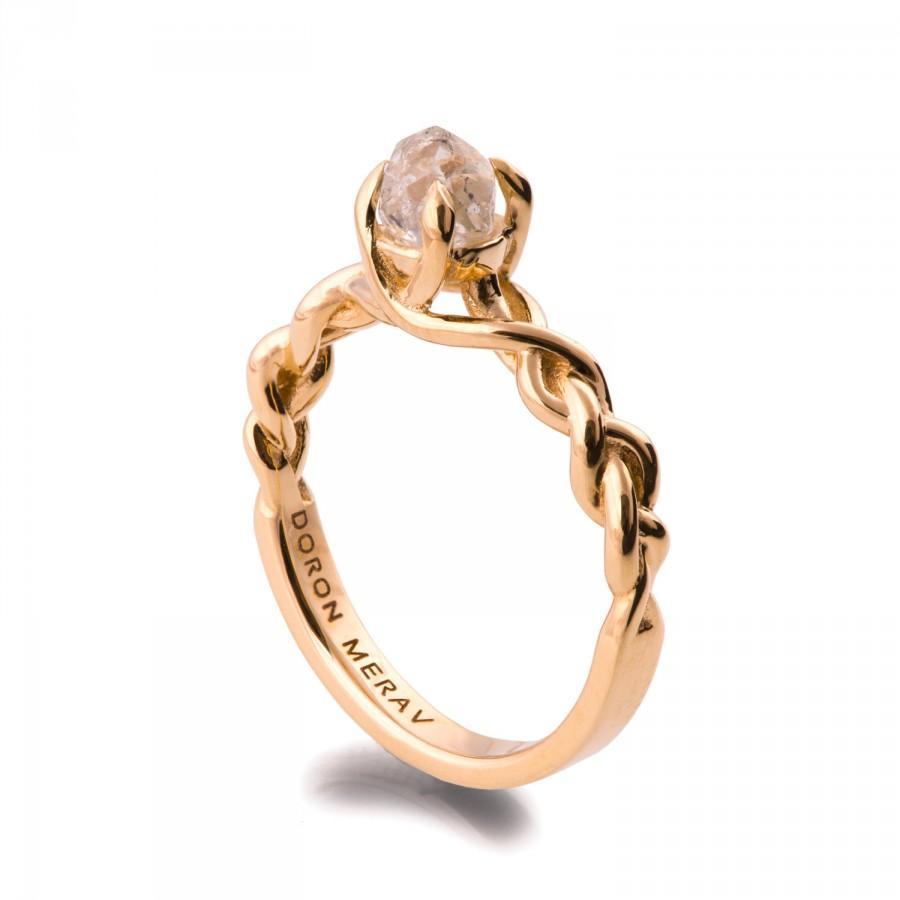 Свадьба - Raw Diamond Engagement Ring - 18K Gold and Rough Diamond engagement ring, Unique Engagement ring, rough diamond ring, uncut diamond ring, 2