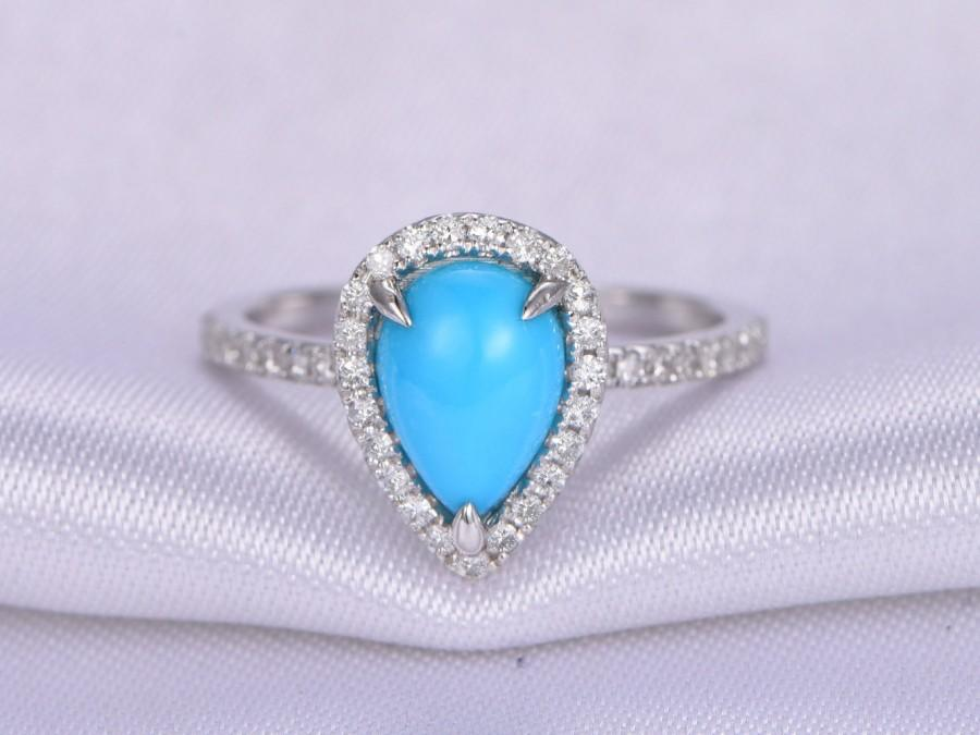 Свадьба - Turquoise Ring,6x9mm Oval Cut Turquoise Engagement ring,14k White gold,Diamond Wedding Band,Halo,Propose Ring,Promise Ring,Anniversary Ring