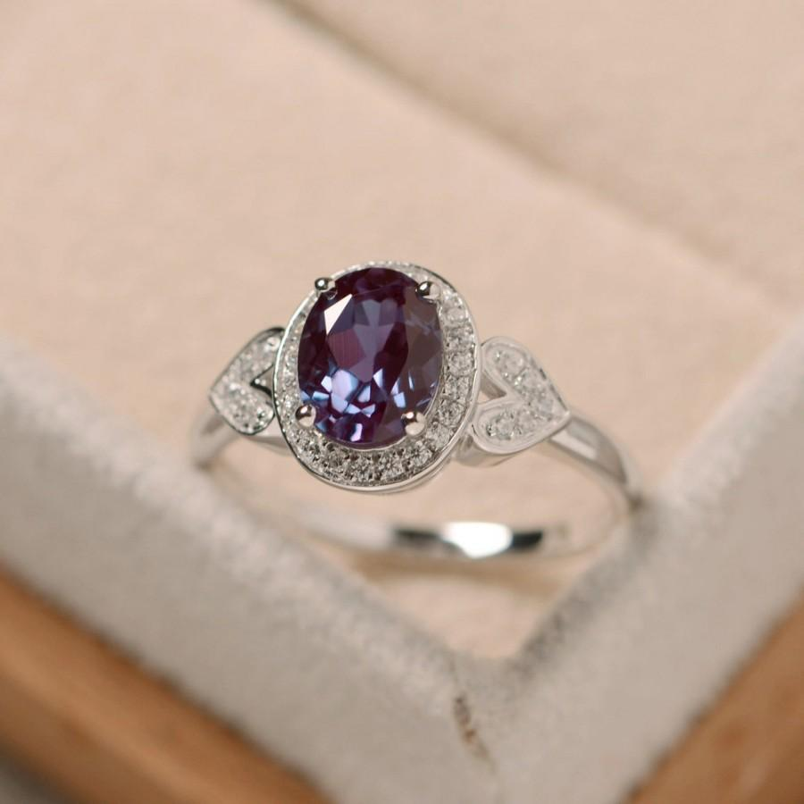 Свадьба - Alexandrite ring, oval cut ring, sterling silver