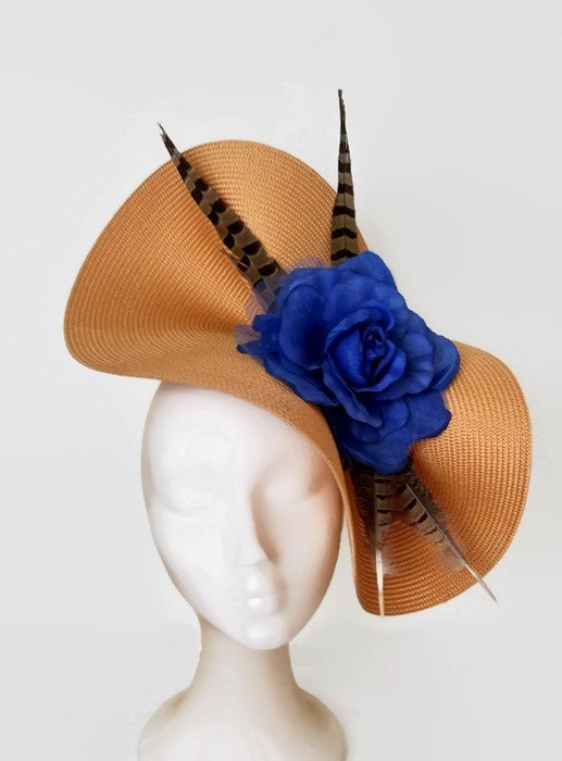 Gold And Royal Blue Fascinator Feather Hat Kentucky Derby Hats Wedding Hair Accessories Womens Races