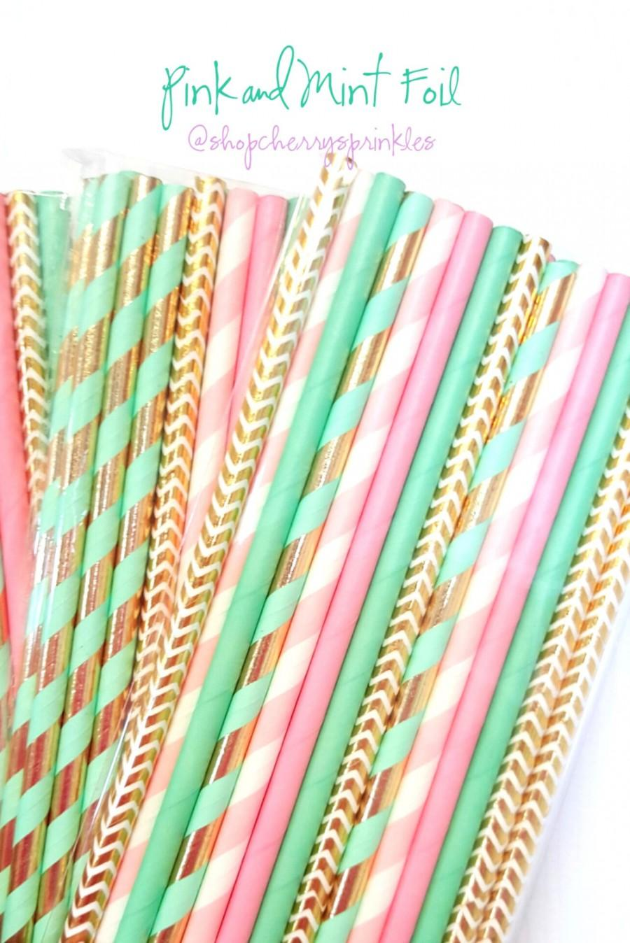 Hochzeit - Pink and Mint Party Supplies -Mint Straws -Pink Straws -Gold Foil Straws -Mint and Pink Wedding Decorations -Pink Stripe -Mint Stripe *Gold