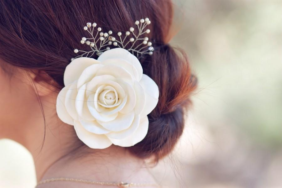 Mariage - Ivory rose hair pin 3 inches with and Swarovski pearls and crystals