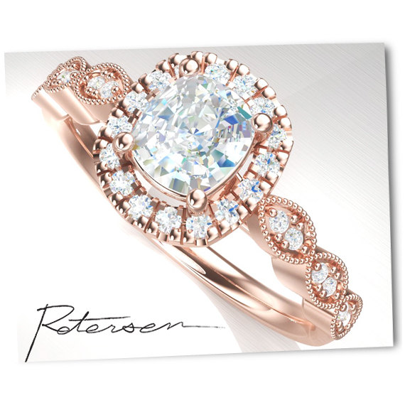 Свадьба - Silver Engagement Ring Silver - cubic zirconia engagement rings cubic zirconia - Cushion cut Ring - Rose Gold Engagement Ring