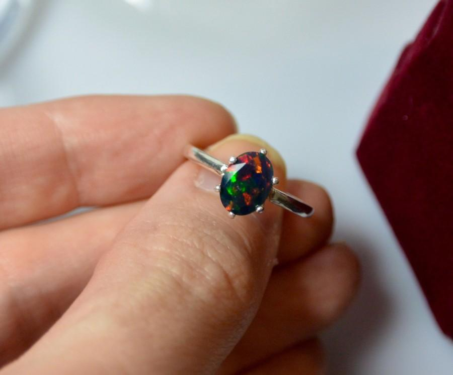 Свадьба - Natural Black Opal Sterling Silver ring vibrant multi color fire - the brightest opal and minimalist solitaire design, engagement ring