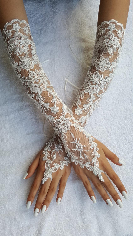 Extra Long Ivory Frame Wedding Glove, Bridal Glove, Ivory Lace Cuffs ...