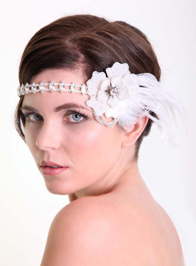 Mariage - Forehead bridal headband , Downton headdress , Forehead jewellery , 1920s wedding , bridal headband- Bridal headdress