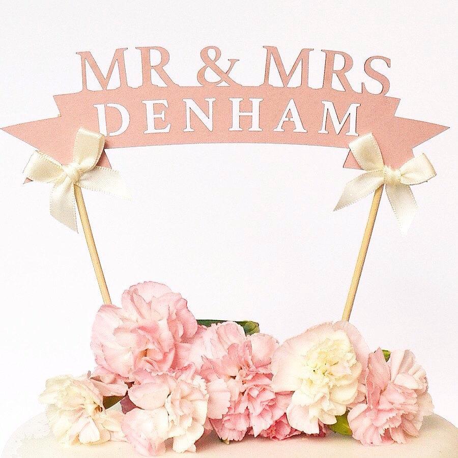زفاف - Rustic Pink Paper Wedding Cake Toppers