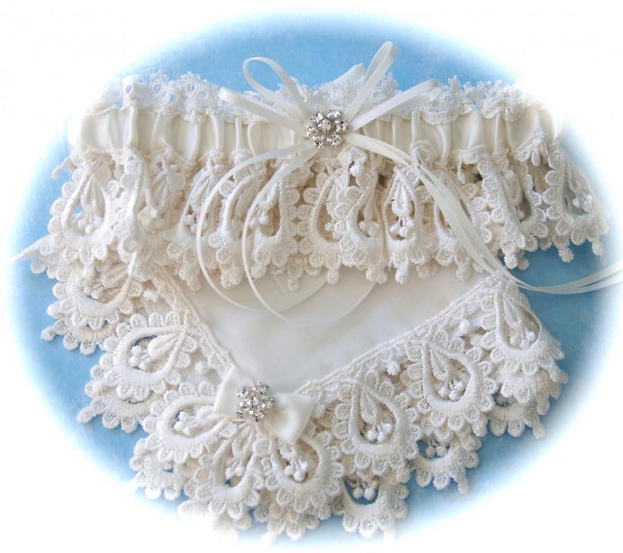 Hochzeit - Wedding Garter with Hanky in Heirloom Venice Lace, Satin and Heirloom Batiste