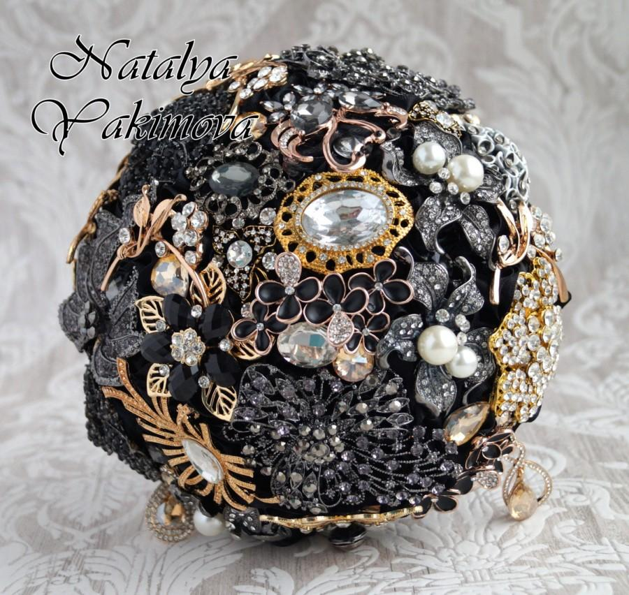 Düğün - FULL PRICE, Brooch Bouquet, Diamante Brooch Bouquet, Bridal Bouquet, Wedding Bouquet, Fabric Bouquet, Unique Bouquet, Black and Gold