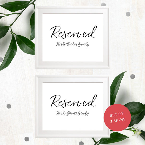 زفاف - Reserved For Family-Printable Stylish Hand Lettered Wedding Sign-DIY Calligraphy Reserved for the Bride's Family-For the Groom's Family