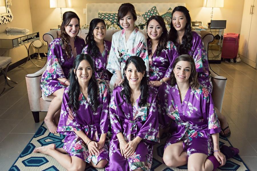 Mariage - Free Shipping ! Set of 8 Bridesmaid Robes Bridesmaid Gift Bridesmaid robe  Bridal Robe Personalized Bridesmaid Satin Robe