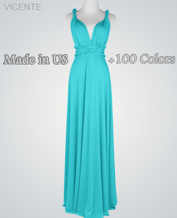 Mariage - Maxi dress Bridesmaid dress,turquoise bridesmaid dresses, feminine party long dress  turquoise long dress, party long dress