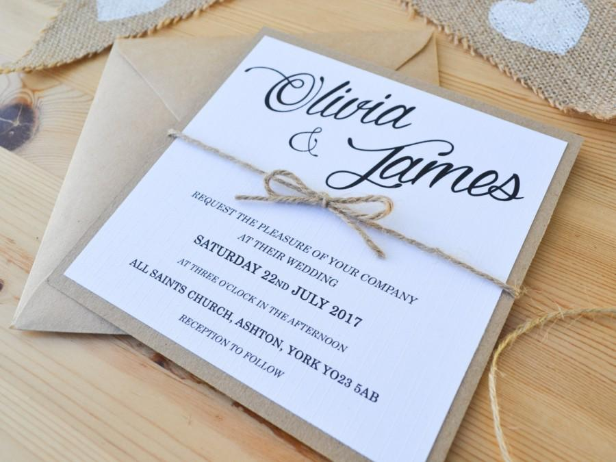 زفاف - Rustic Wedding Invitation - Kraft Twine Stationery with RSVP