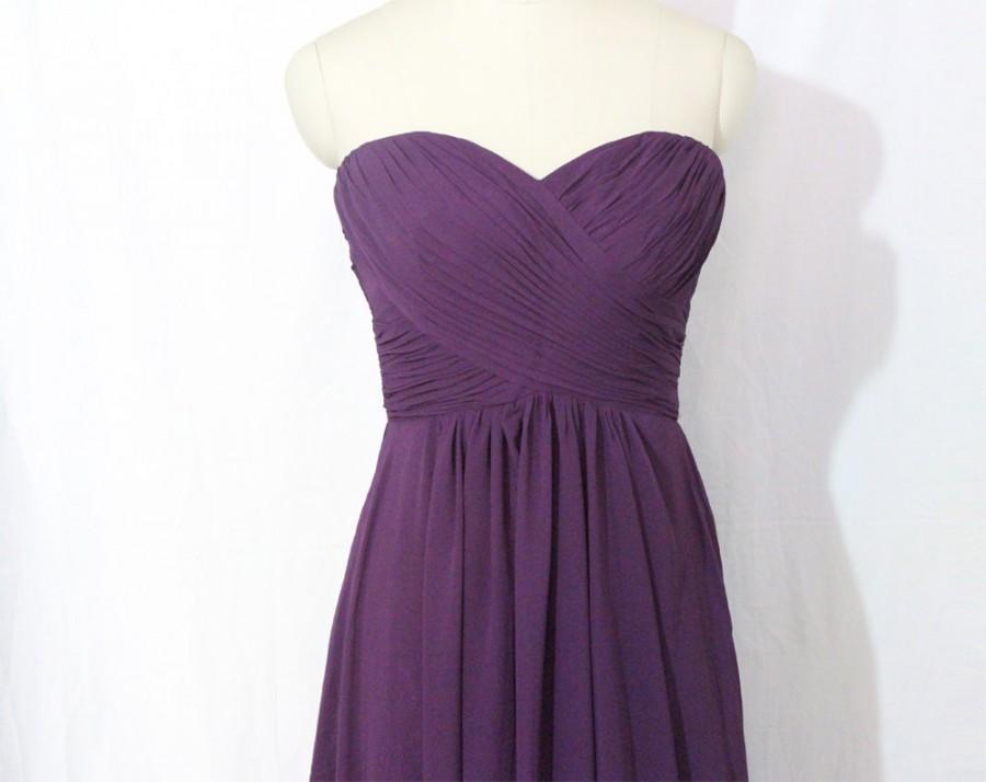 Mariage - Purple Strapless Bridesmaid Dress Long Chiffon Purple Sweetheart Bridesmaid Dress-Custom Dress