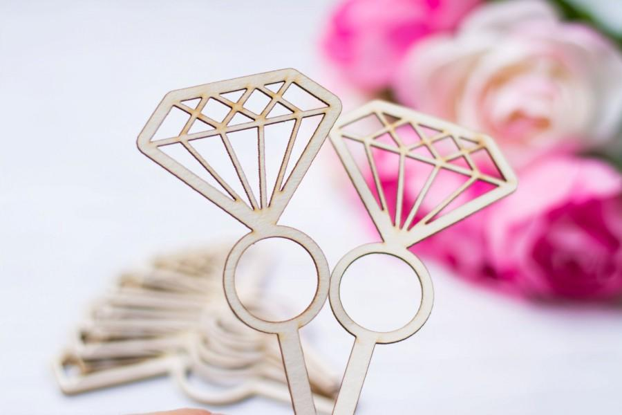 Mariage - Diamond Cupcake Topper Ring Cupcake toppers Engagement Party Bridal shower Bachelorette party shower Donut topper Set of 12