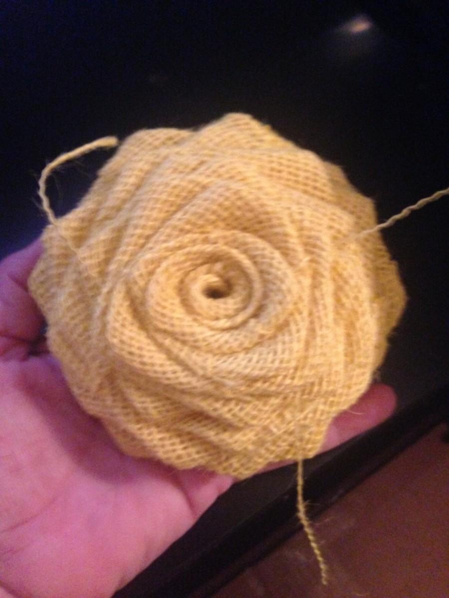 Large Yellow Burlap Rosecake Topperdiy Decor Rustic Weddinglarge