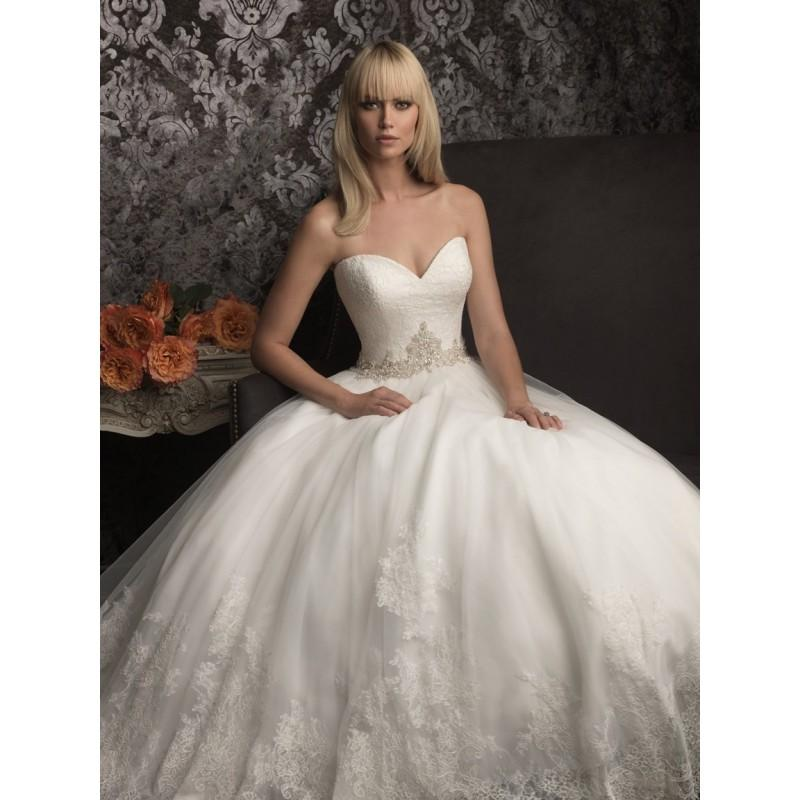 Allure bridals 9014 strapless lace ball gown wedding dress for Wedding dresses sale online