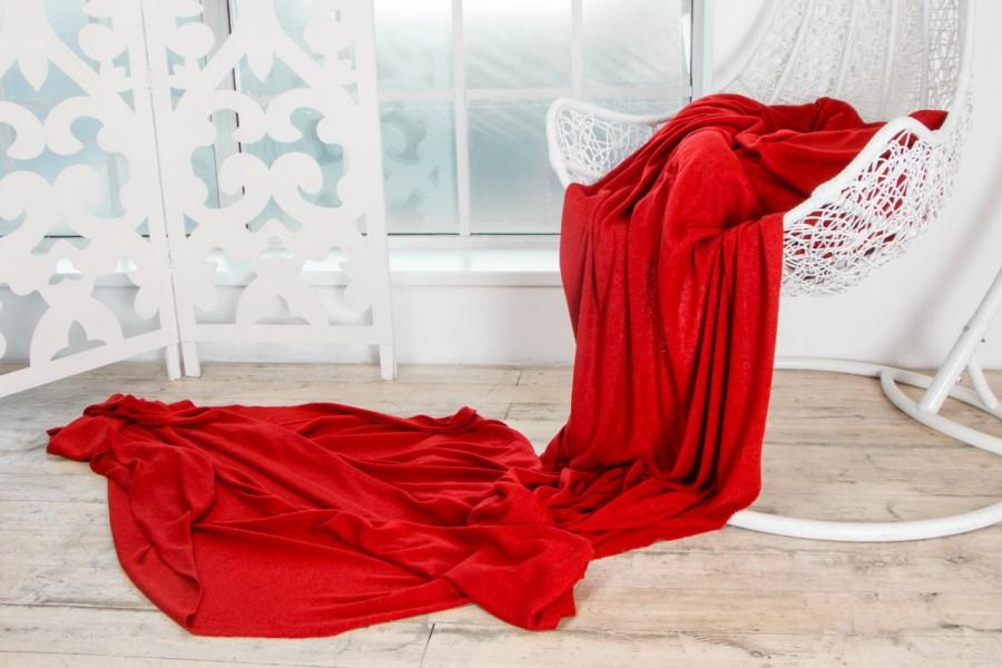 Wedding - SCARLET RED Luxury Wool Viscose Angora Knit Italian Fabric Limited Edition - Soft Natural Exclusive by the yard - Sewing diy