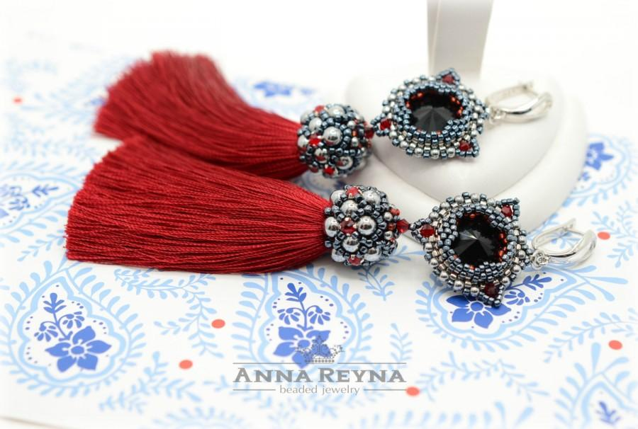 Wedding - Red tassel earrings • Seed bead earrings • Swarovski earrings • Unique Gift • Tassel Earrings • Long tassel earrings • Evening earrings