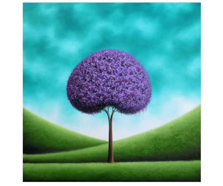 Wedding - Modern Rustic Lavender Tree Art Print, Giclee Print of Original Oil Painting, Purple Tree Print, Teal Landscape Print, Contemporary Wall Art