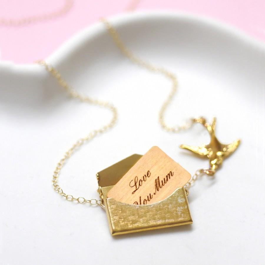 Wedding - Locket Necklace, Gold Necklace, Personalised Necklace, Best Mum Gift, 5th Anniversary Gift, Personalised Mini Love Letter Necklace