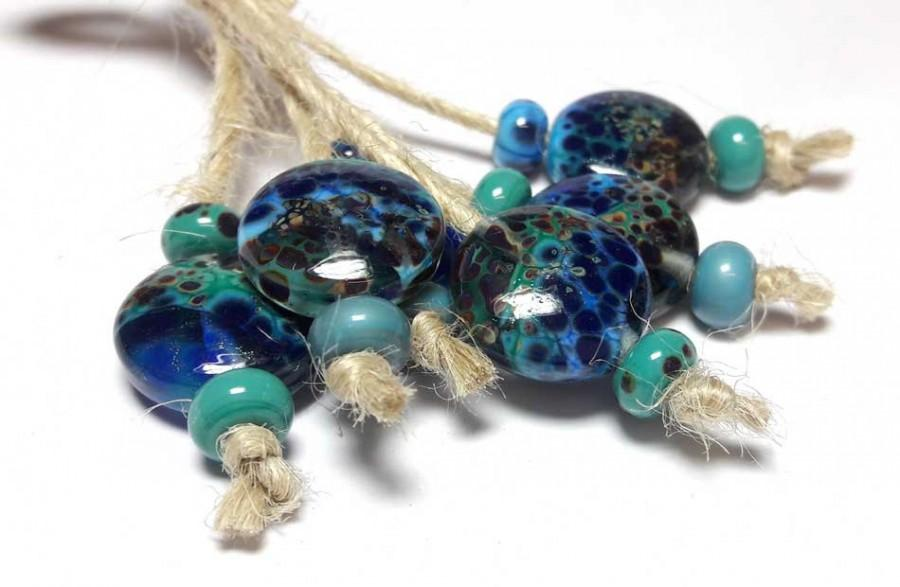 Düğün - Lampwork glass bead handmade Beads supplies jewelry Beads for jewelry making Set Beads SRA Murano Beads Beads turquoise blue dark turquoise.