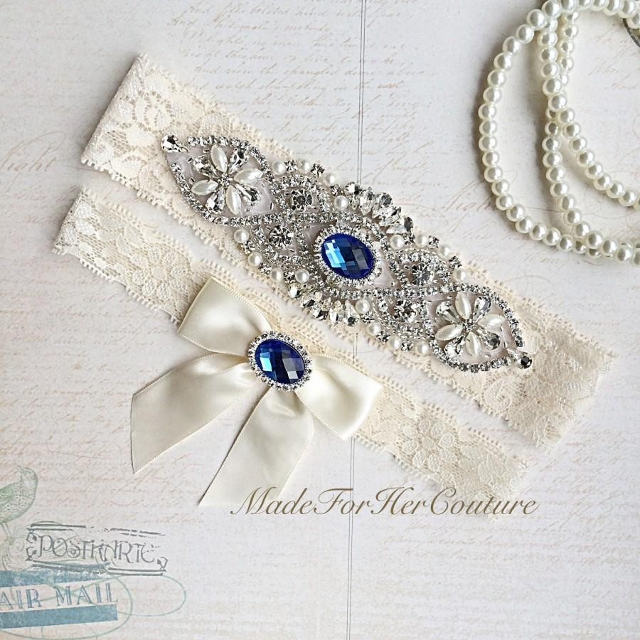 Hochzeit - Royal Blue Wedding Garter, Bridal Garter Set, Blue Garter Set, Crystal Pearl Garter, Vintage Garter, Wedding Garter Belt-Something Blue