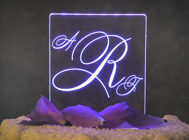 Mariage - Romance Monogram Wedding Cake Topper - Acrylic - Personalized - Light Extra