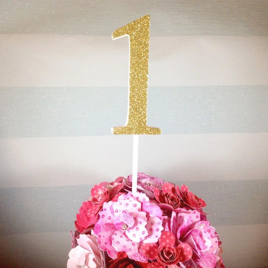 "Mariage - Large glitter number cake topper - wedding table centrepieces - cake smash props - 1st birthday - giant 4 inch (4"") - gold, pink, 2, 3, 4, 5"