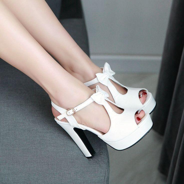 زفاف - Cute Street Style Peep Toe Bow High Heel Sandals