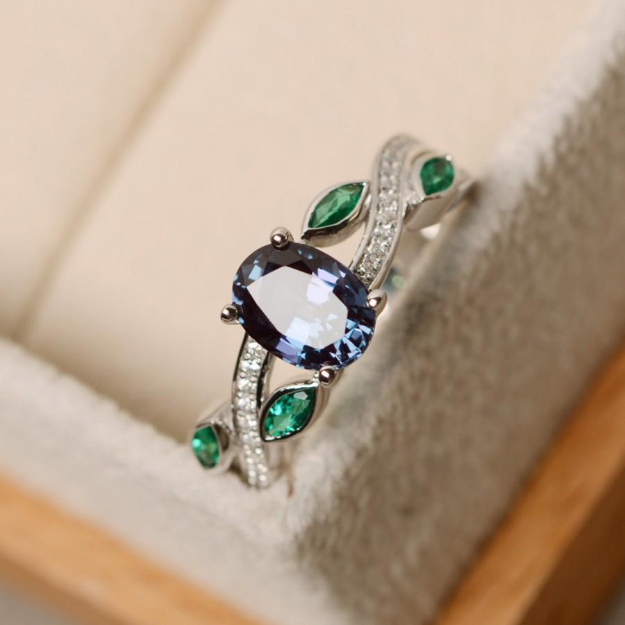 Свадьба - Alexandrite ring, leaf ring, engagement ring