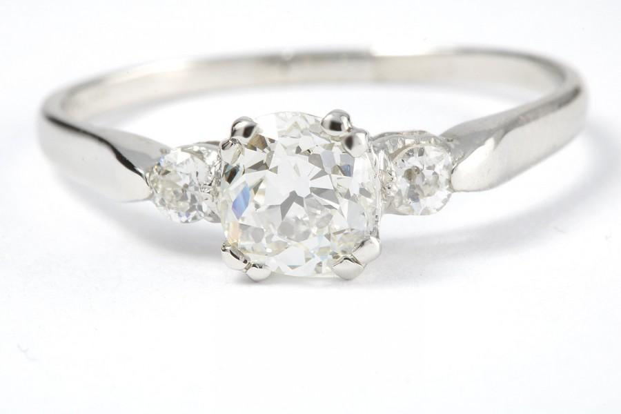زفاف - Vintage .83 carat Old European diamond platinum engagement ring. Circa 1950.