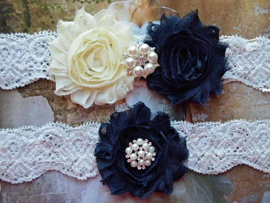 Hochzeit - Wedding Garter Set, Bridal Garter Set, Vintage Inspired, Ivory Lace Garter, Crystal Bridal Garter, Violet Style 10355