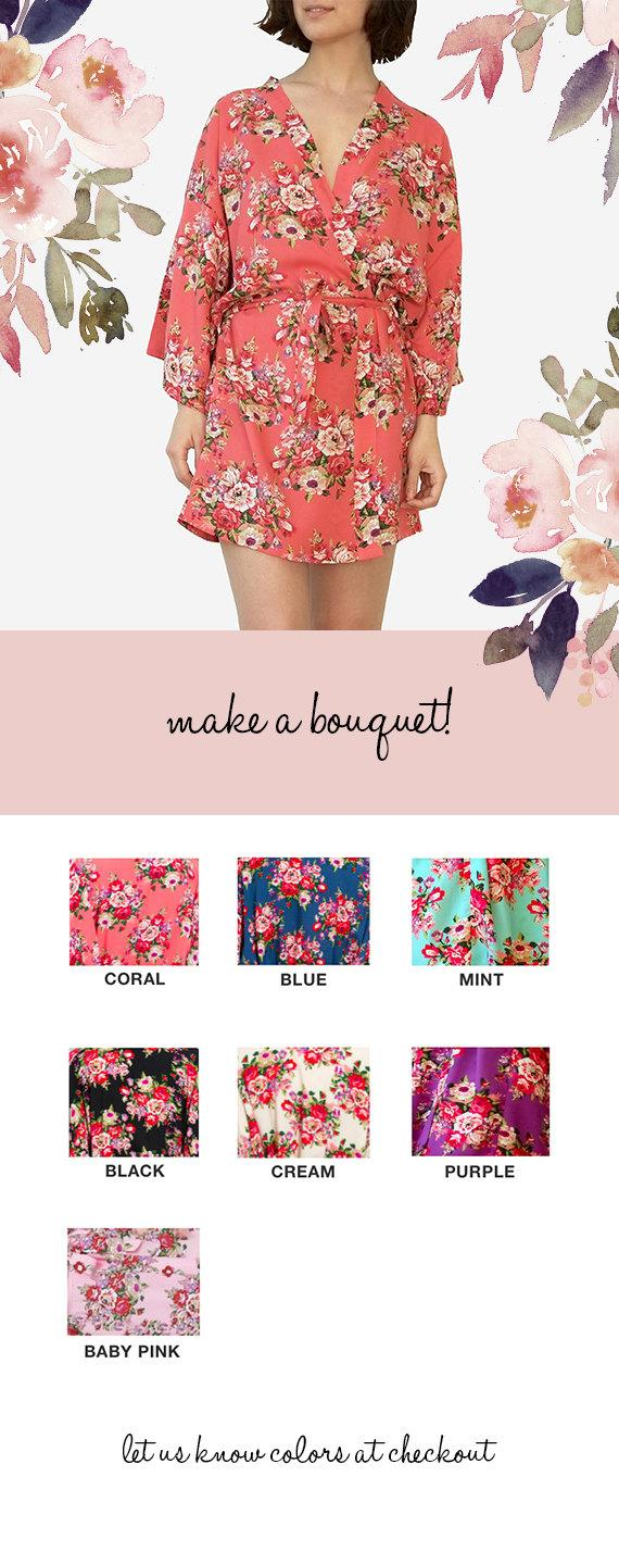 Hochzeit - 7 DIFFERENT COLORS - Bridesmaid Robes Floral Robe Wedding Robes Bridal Party Robes Bridesmaid Robe Bride Robe Floral Bridesmaid Robes Satin