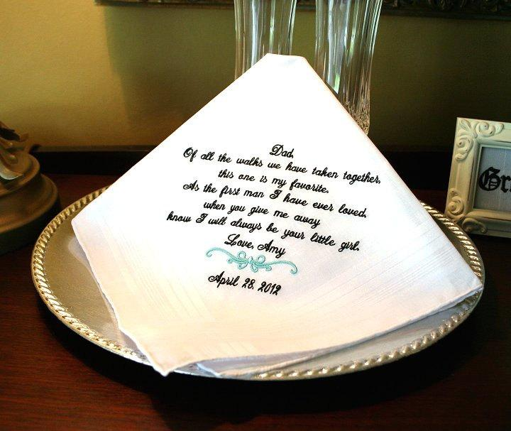 Свадьба - Father of The Bride wedding day gift - Handkerchief -Hankie - Hanky - FAVORITE WALK - Gift for dad from daughter -  Bride - Weddings
